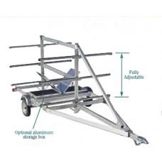 "Trailex Aluminum Trailer, Six Canoe Carrier 4.80 X 12"" Clr W/Aluminum Fenders Standard"